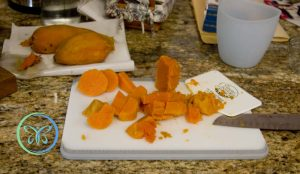 Sweet Potato Salad - cutting up the potatoes