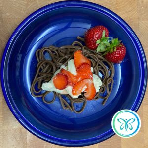 Chocolate Pasta with Mascarpone-Vanilla Cream and Strawberries